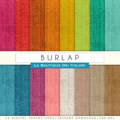 Complete Burlap fabric  Digital Paper Pack Printable Instant Download Personal and Commercial Use Red Green Pink Blue Yellow Natural
