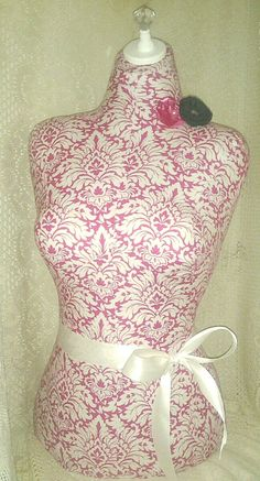NEW.. Hot Pink Damask Scroll Dress Form jewelry by reminiscejewels