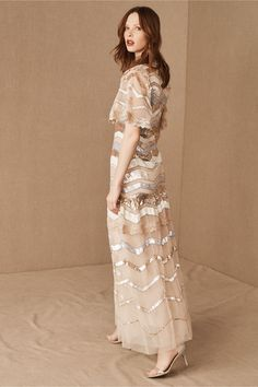 Pastel sequins create a cascade of sequined chevron stripes, making this gown a showstopping pick for formal events. Sheer, square cut sleeves and lace edging complete the look. Wedding Dresses For Sale, Wedding Bridesmaid Dresses, Prom Dresses, Wedding Gowns, Tan Wedding, Wedding Bells, Holiday Party Dresses, Holiday Parties, Dressy Outfits