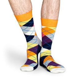 Happy Socks Orange, Pink, Yellow, White (and Black, and Grey) Argyle for Men and Women (Unisex)