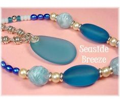 "Seaside Breeze ~ Blue Sea Glass Sterling Silver Pendant ~ Vintage Wave Art Glass Paperweight Beads, Sea Glass, Sterling Silver, & Pearl Bead 23"" Necklace ~FREE SHIPPING $119   www.FindMeTreasure.com"