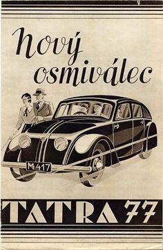 Tatra Classic Motors, Classic Cars, Vintage Ads, Vintage Posters, Car Illustration, Retro Futuristic, Car Posters, Car Advertising, Commercial Vehicle