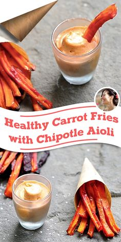 Healthy Carrot Fries with Chipotle Aioli (Vegan, Gluten Free) via @SunnysideHanne