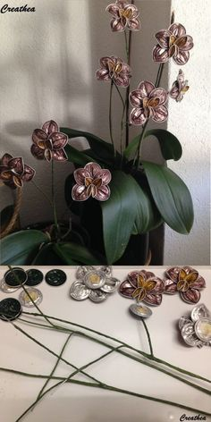 Upcycled Nespresso Cups Made Into Orchid Flower Cup Crafts, Diy And Crafts, Dosette Nespresso, Tassimo Coffee Pods, Coffee Mugs, Diy Fleur, Free To Use Images, Handmade, George Clooney
