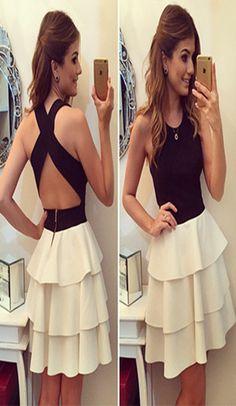Sexy Crossover Backless High Waist Layered Dress #womenfashion