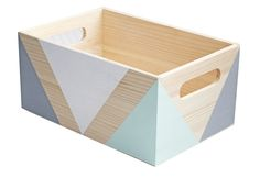 Image of Wooden storage crate with handles