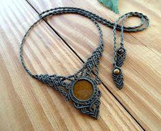Tigers eye macrame necklace macrame jewelry tribal necklace