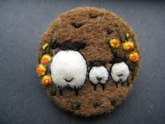 Hand Made Needle Felted Brooch/Gift In the Daffodils by Tracey Dunn