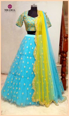 Fantastic lehenga with beautiful color and hand made design from the house of Mugdha Art Studio. They can customize the color and size as per your requirement.To Order :WhatsApp: 8142029190 / 9010906544 . Half Saree Designs, Lehenga Designs, Saree Blouse Designs, Half Saree Lehenga, Bridal Lehenga, Kids Lehenga, Indian Lehenga, Sarees, Desi Wedding Dresses