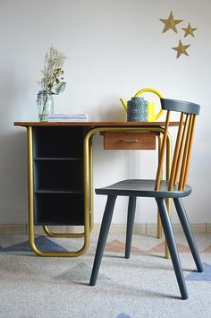 Bureau colier vintage vert pinteres - Chaise ecolier vintage ...