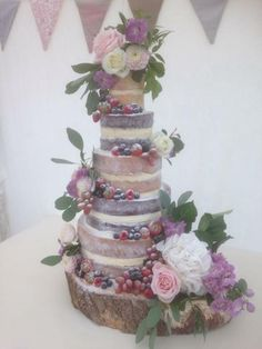 Romantic Naked Wedding Cake - my 1st attempt - Cake by Kelly
