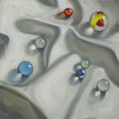 """Glorious marbles 6x6  oil"" - Original Fine Art for Sale - © Claudia Hammer"