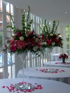 Centerpieces for Wedding, Quinceanera in Tulare.  Love the height of these for centerpieces,  good visual across the table