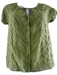 Dana Buchman Womens Ladies Shirt Top Embroidered Chartreuse Olive BOHO-Med.-EUC