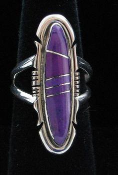 Navajo Indian Ring Sugilite Inlay