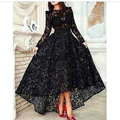High Low Black Lace Evening Dress Long Sleeves Party Prom Gown Plus Size Custom