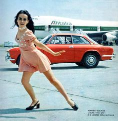 Alfa Romeo 1750 GTV with Marisa Solinas and Alitalia Ad