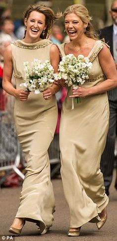 Chelsy Davy and Lady Katie Valentine, the sister of bride Lady Melissa Percy,26 , arrive at St Michael's Parish Church in Alnwick