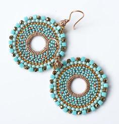 Beadwoven dangle hoop earrings turquoise colour by KingaDesign, $33.00