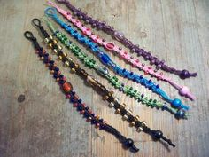 I make my bracelets using waxed cotton cord and glass beads. These are crafted using a macrame square or twist knot threaded with glass beads. I love colour Bracelet Designs, Handcrafted Jewelry, Friendship Bracelets, Knot, Cord, Glass Beads, Jewlery, Jewelry Design, Beaded Bracelets