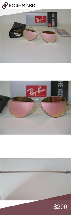 Authentic Pink Aviator Ray Bans Authentic Pink Aviator Ray Bans (In Stock) Condition: New Frame Color: Silver  Included: Sunglasses,case,cleaning cloth and booklet. Ray-Ban Accessories Sunglasses