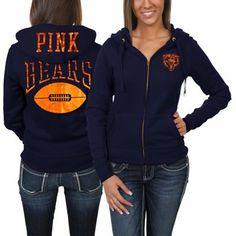 Victoria's Secret PINK Chicago Bears Ladies Bling Full Zip Hoodie - Navy Blue