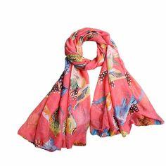 100% Silk Scarf Women Scarf Ladies Leaves Birds Print Pattern Long Scarf Warm Wrap Shawl Office Lady Gift