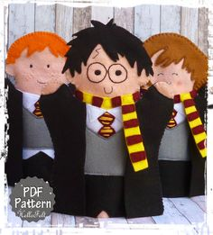 Títeres para mano de Harry Potter / Harry Potter Hand Puppets - PDF Pattern on Etsy, $4.50 per character.