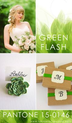 Pantone - Green Flash 15-0146   Green Flash is the kind of color that exudes all sorts of good energy. And when it comes to color pairings? I really love the idea of pairing this shade with a very soft blush, a bit of ivory, and a mix of other earthy neutrals.