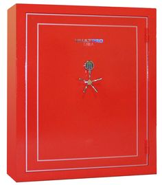 Fortress Double Wide Gun Safe, Brilliant Red with Gold Biometric Digital Lock & 5-Prong Handle - Vault Pro USA
