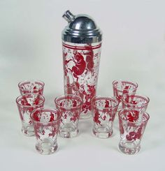 Hazel Atlas ~ Red Dancing Pigs~Cocktail Shaker-8-Juice Glasses With Music Notes