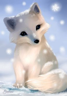 Chibi Baby Arctic Fox by Evolvana.deviantart.com on @DeviantArt