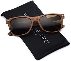Faux Wood Reflective Revo Color Lens Horn Rimmed Sunglasses (Light Wood Print 51)