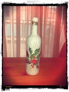 #Christmas #decoupage #bottle #handmade