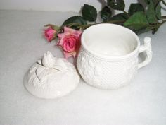 VINTAGE WHITE MINIATURE Ceramic Vase With by ShopOfCraftsByMyrna, $12.00