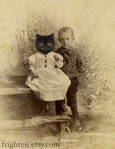 Bertie knew it was just a cat in a dress, but his parents insisted they'd got him a little sister, so he went along with it.