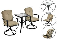 Outdoor Bistro Set 3PC Garden Furniture Backyard Table Swivel Chairs & Cushions #Mainstays