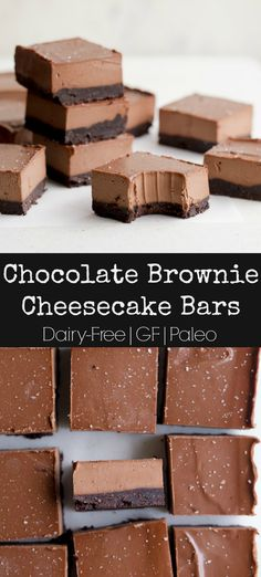 dairy free These decadent and rich Chocolate Brownie Cheesecake Bars will satisfy any sweet tooth and chocolate craving! Dairy-Free, Paleo, but no one will ever know! Dairy Free Cheesecake, Brownie Cheesecake, Cheesecake Desserts, Köstliche Desserts, Dairy Free Brownies, Paleo Brownies, Paleo Chocolate, Chocolate Brownies, Chocolate Recipes