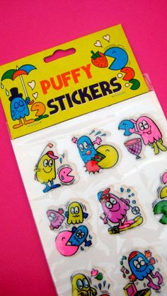 Rare Vintage 80s Pacman Puffy Stickers MOC...Free by unicornkids