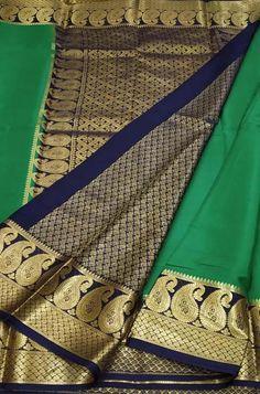 Green Handloom Mysore Crepe... Crepe Silk Sarees, Silk Crepe, Green Fabric, Silk Fabric, Mysore Silk Saree, Color Schemes, R Color Palette, Colour Schemes