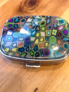 OOAK Polymer Clay Covered Pill Box Two Compartment by sonjavanas