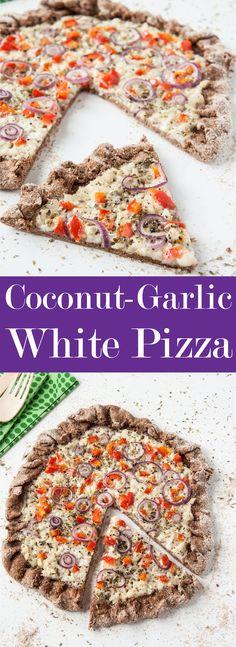 Coconut-Garlic White Pizza Recipe w/ Hearty Whole Wheat Crust   VeganFamilyRecipes.com   #vegan #eatclean #dairyfree #vegetarian #healthy #dinner