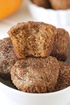 Gluten-Free Pumpkin Donut Holes are the one-bite treat you'll definitely remember. Full of warm spices and rolled in cinnamon sugar.