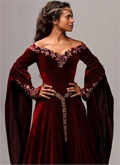 Beautiful burgundy velvet gown.