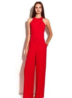 Kırmızı Sırt Dekolteli Yeni Sezon Koleksiyonundan Tulum Modeli