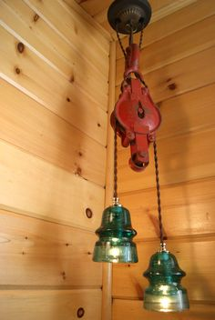 Industrial Chic Vintage Red Pulley & Blue/Green Insulator Hanging Light