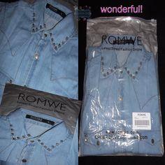 Camisa Jeans com Rivet's #romwe..Lindaaa.. Riveted Detailed Blue Denim Shirt http://www.romwe.com/riveted-detailed-blue-denim-shirt-p-44106.html?drikabello.blogspot