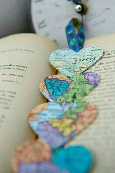 Heart shaped map bookmarks!