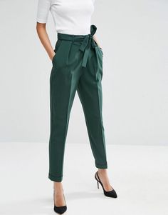 Forest green pegged trousers for women's business casual wear from ASOS!