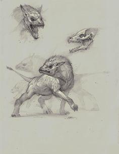 Hyena/wild dog hybrid, Bobby Rebholz on ArtStation at https://www.artstation.com/artwork/8vJXQ